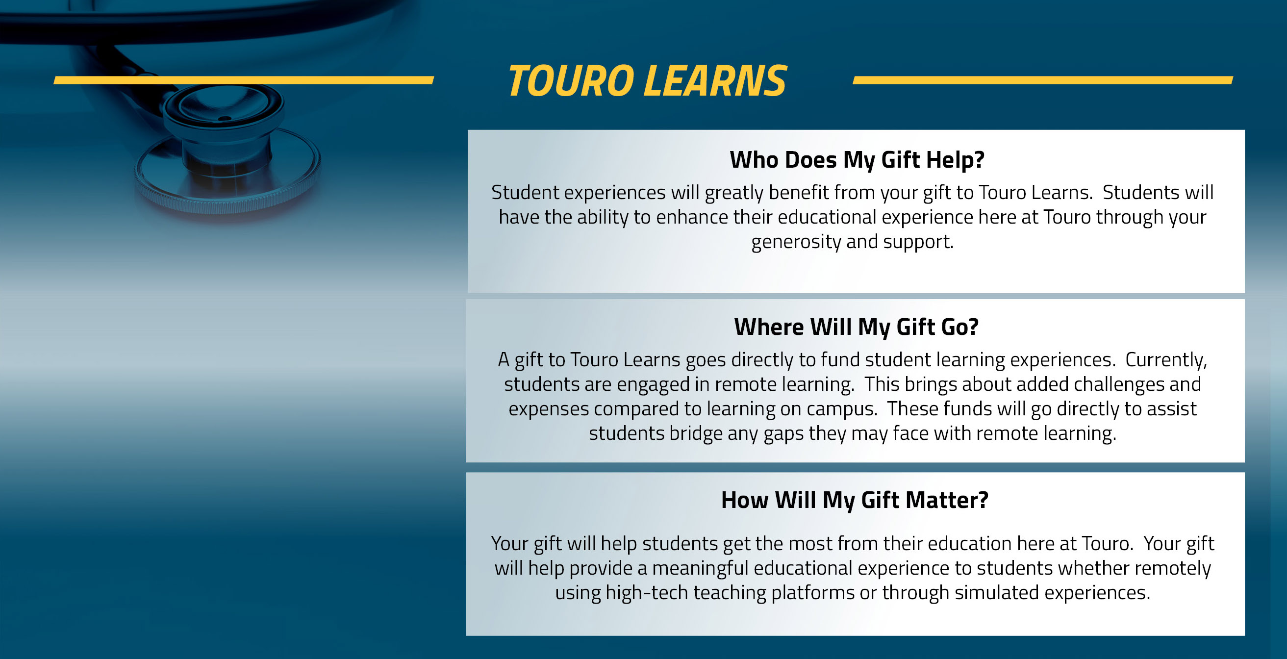 Touro Learns Fund